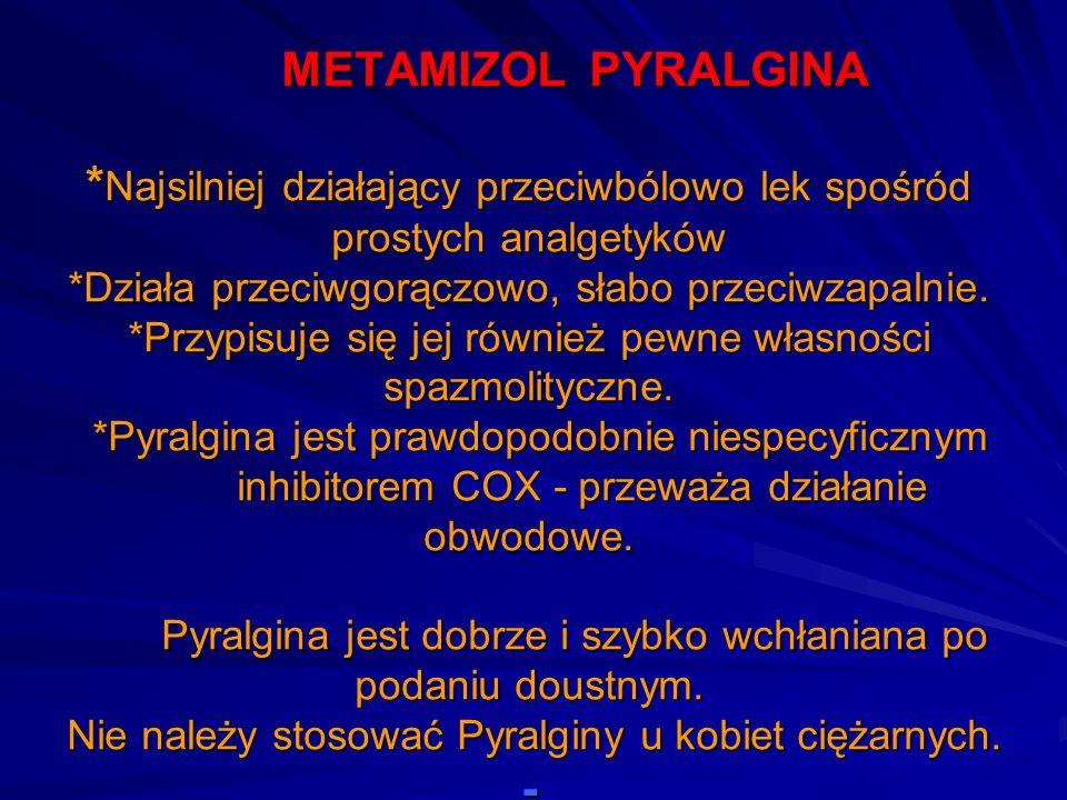 METAMIZOL PYRALGINA * Najsilniej działający przeciwbólowo lek spośród prostych analgetyków *Działa przeciwgorączowo, słabo przeciwzapalnie. *Przypisuj