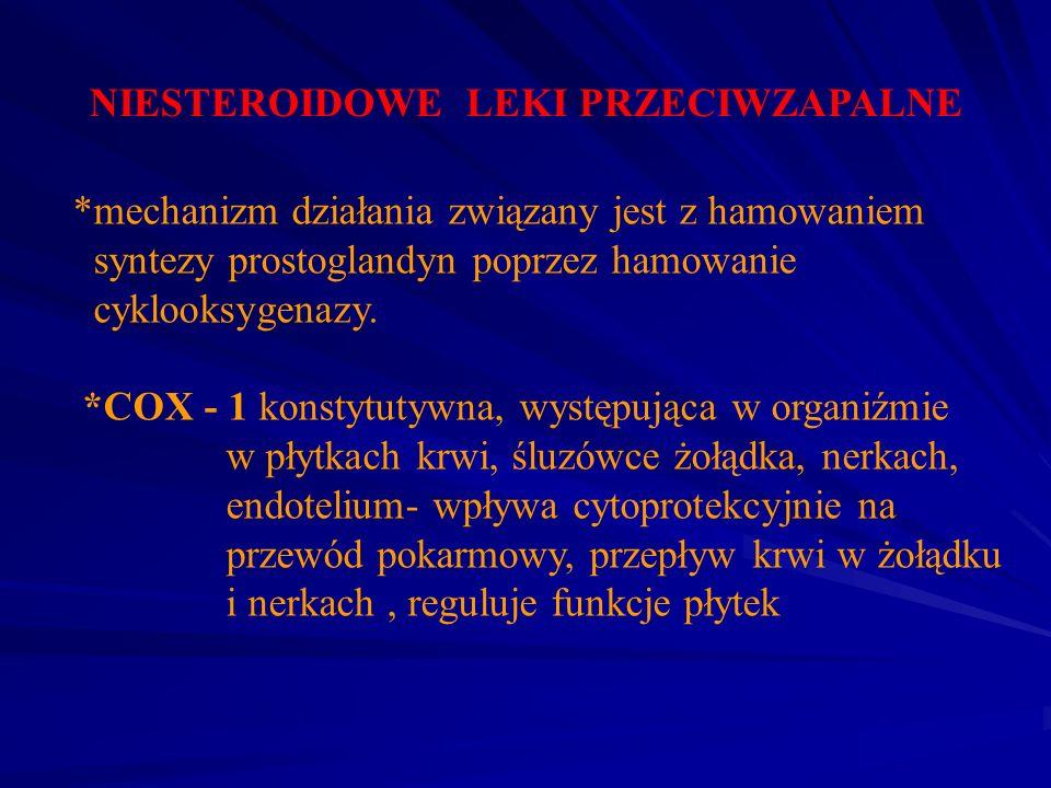 NIESTEROIDOWE LEKI PRZECIWZAPALNE *mechanizm działania związany jest z hamowaniem syntezy prostoglandyn poprzez hamowanie cyklooksygenazy. *COX - 1 ko