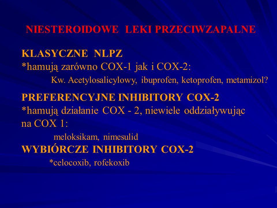 NIESTEROIDOWE LEKI PRZECIWZAPALNE KLASYCZNE NLPZ *hamują zarówno COX-1 jak i COX-2: Kw. Acetylosalicylowy, ibuprofen, ketoprofen, metamizol? PREFERENC