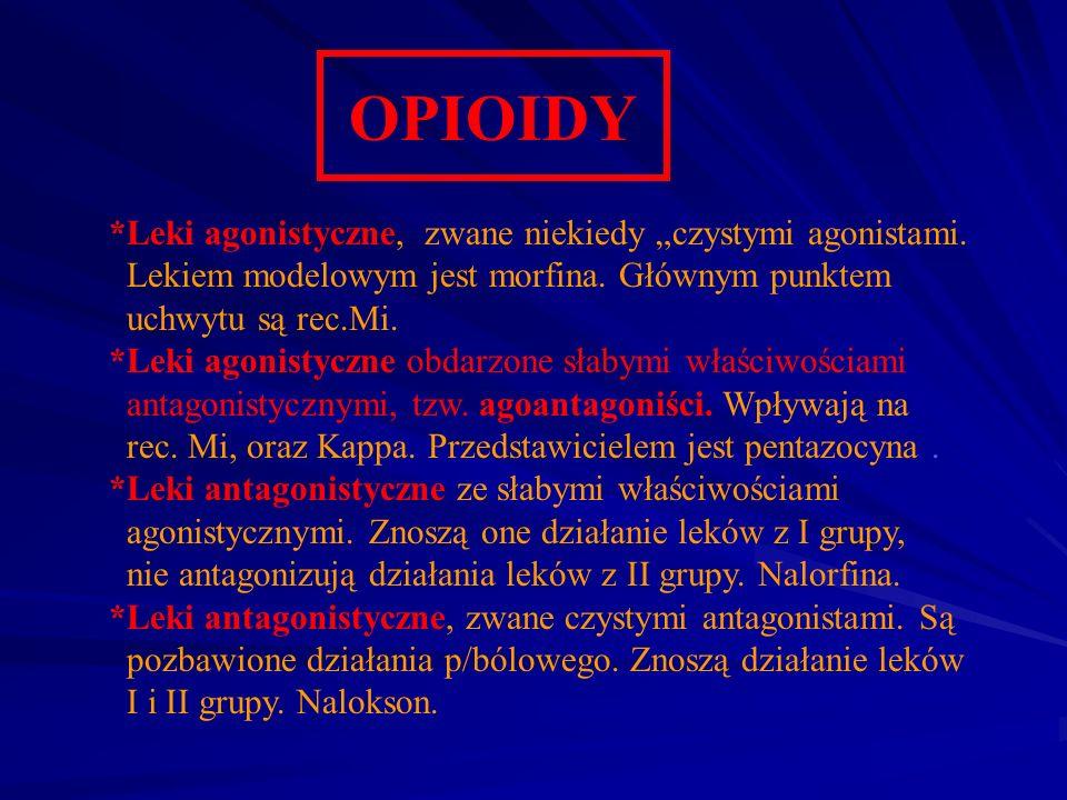 OPIOIDY *Leki agonistyczne, zwane niekiedy czystymi agonistami. Lekiem modelowym jest morfina. Głównym punktem uchwytu są rec.Mi. *Leki agonistyczne o