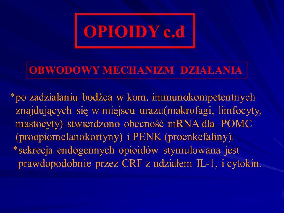 OPIOIDY c.d OBWODOWY MECHANIZM DZIAŁANIA *po zadziałaniu bodźca w kom. immunokompetentnych znajdujących się w miejscu urazu(makrofagi, limfocyty, mast