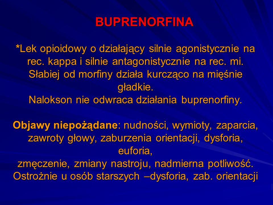 BUPRENORFINA *Lek opioidowy o działający silnie agonistycznie na rec. kappa i silnie antagonistycznie na rec. mi. Słabiej od morfiny działa kurcząco n