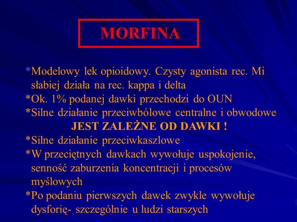 MORFINA *Modelowy lek opioidowy. Czysty agonista rec. Mi słabiej działa na rec. kappa i delta *Ok. 1% podanej dawki przechodzi do OUN *Silne działanie