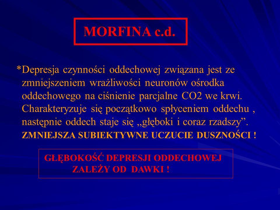 MORFINA c.d. *Depresja czynności oddechowej związana jest ze zmniejszeniem wrażliwości neuronów ośrodka oddechowego na ciśnienie parcjalne CO2 we krwi