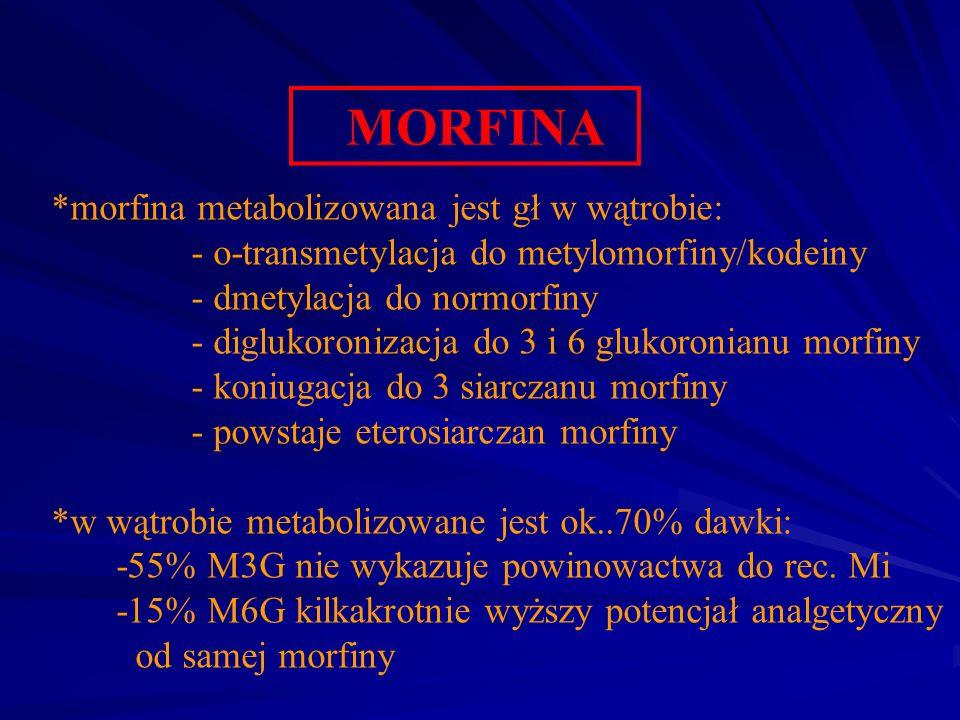 MORFINA *morfina metabolizowana jest gł w wątrobie: - o-transmetylacja do metylomorfiny/kodeiny - dmetylacja do normorfiny - diglukoronizacja do 3 i 6