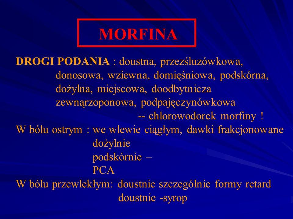 MORFINA DROGI PODANIA : doustna, przezśluzówkowa, donosowa, wziewna, domięśniowa, podskórna, dożylna, miejscowa, doodbytnicza zewnąrzoponowa, podpajęc