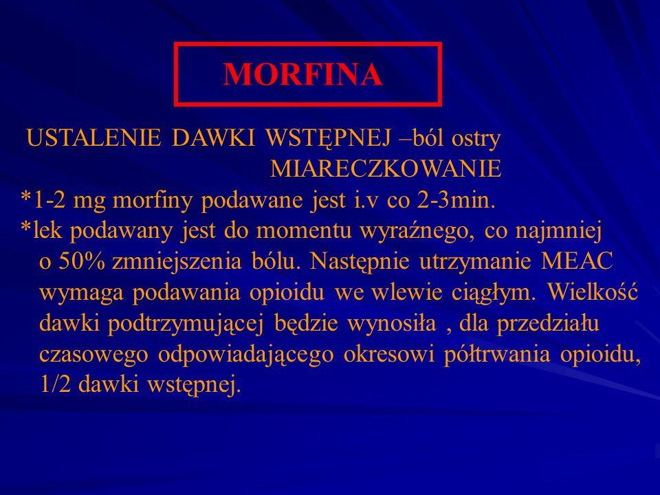 MORFINA USTALENIE DAWKI WSTĘPNEJ –ból ostry MIARECZKOWANIE *1-2 mg morfiny podawane jest i.v co 2-3min. *lek podawany jest do momentu wyraźnego, co na