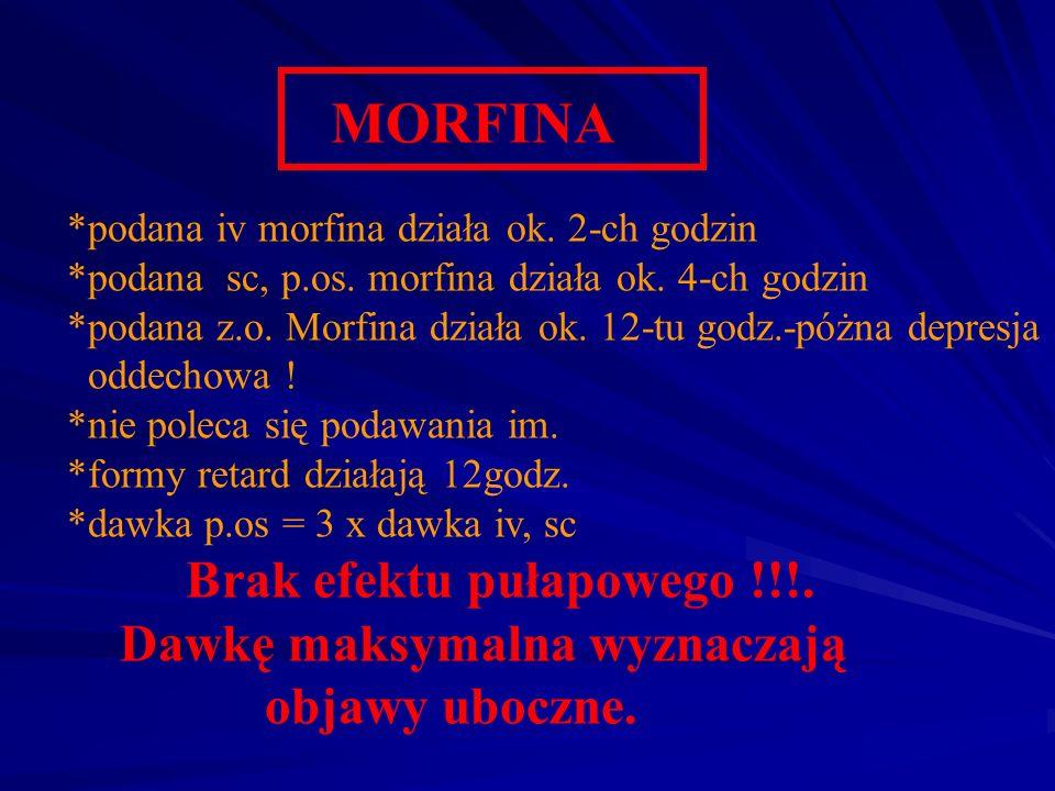 MORFINA *podana iv morfina działa ok. 2-ch godzin *podana sc, p.os. morfina działa ok. 4-ch godzin *podana z.o. Morfina działa ok. 12-tu godz.-póżna d