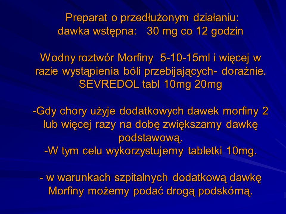 Preparat o przedłużonym działaniu: dawka wstępna: 30 mg co 12 godzin Wodny roztwór Morfiny 5-10-15ml i więcej w razie wystąpienia bóli przebijających-