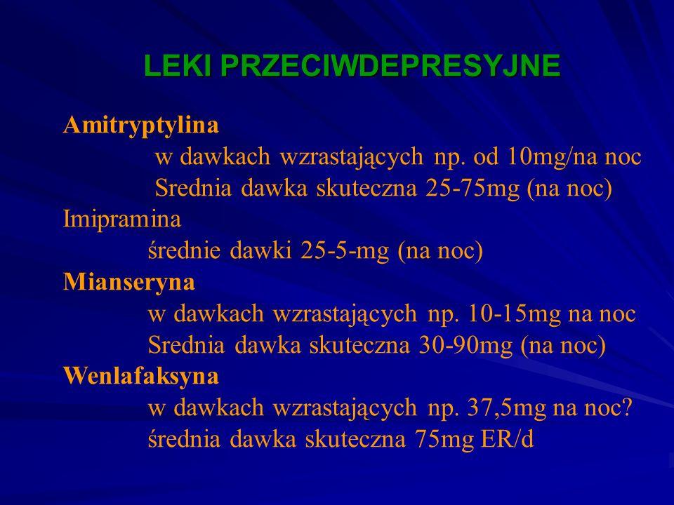 LEKI PRZECIWDEPRESYJNE LEKI PRZECIWDEPRESYJNE Amitryptylina w dawkach wzrastających np. od 10mg/na noc Srednia dawka skuteczna 25-75mg (na noc) Imipra