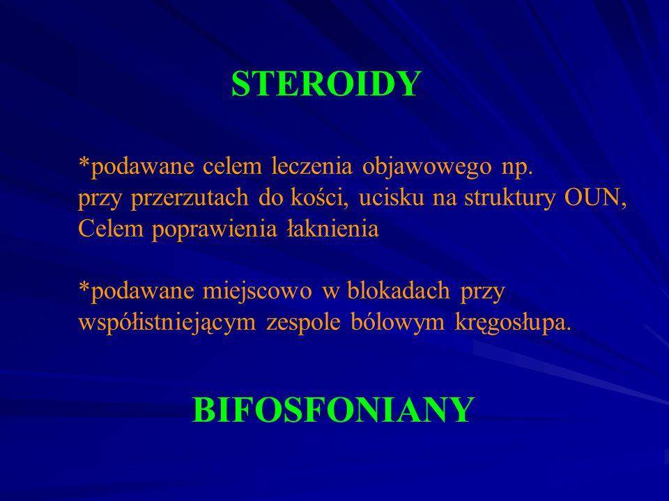 STEROIDY *podawane celem leczenia objawowego np. przy przerzutach do kości, ucisku na struktury OUN, Celem poprawienia łaknienia *podawane miejscowo w
