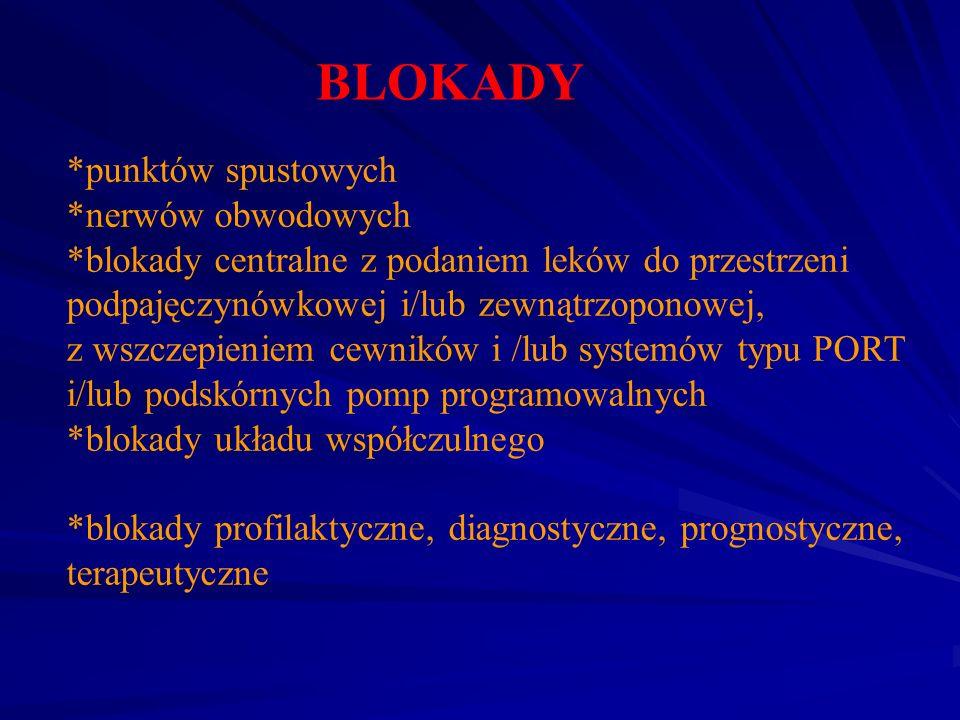 BLOKADY *punktów spustowych *nerwów obwodowych *blokady centralne z podaniem leków do przestrzeni podpajęczynówkowej i/lub zewnątrzoponowej, z wszczep