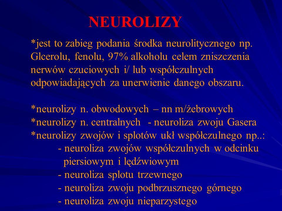 NEUROLIZY *jest to zabieg podania środka neurolitycznego np. Glcerolu, fenolu, 97% alkoholu celem zniszczenia nerwów czuciowych i/ lub współczulnych o