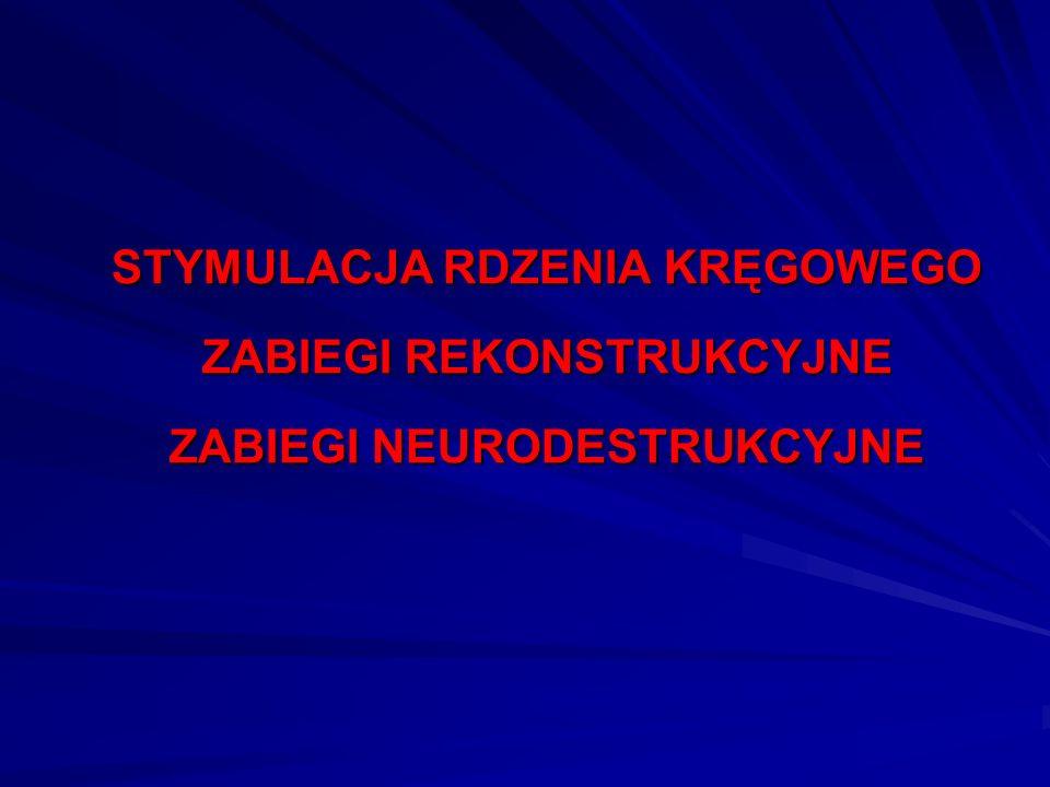 STYMULACJA RDZENIA KRĘGOWEGO ZABIEGI REKONSTRUKCYJNE ZABIEGI NEURODESTRUKCYJNE