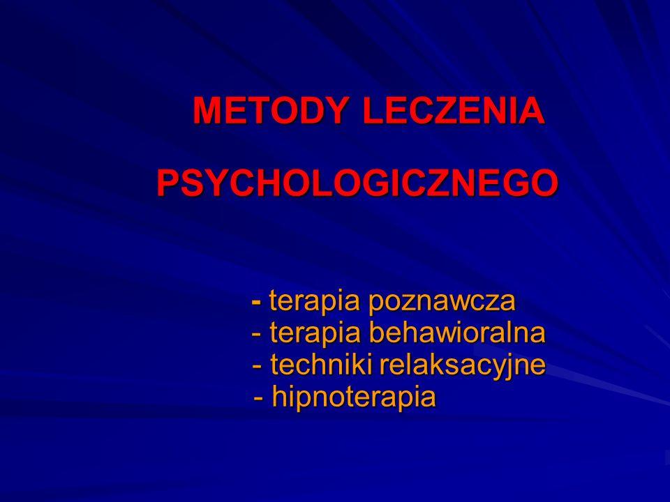 METODY LECZENIA PSYCHOLOGICZNEGO - terapia poznawcza - terapia behawioralna - techniki relaksacyjne - hipnoterapia METODY LECZENIA PSYCHOLOGICZNEGO -