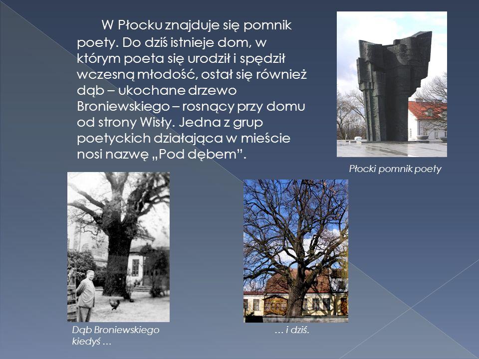 W Płocku znajduje się pomnik poety. Do dziś istnieje dom, w którym poeta się urodził i spędził wczesną młodość, ostał się również dąb – ukochane drzew
