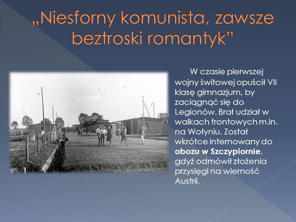W czasie pierwszej wojny świtowej opuścił VII klasę gimnazjum, by zaciągnąć się do Legionów. Brał udział w walkach frontowych m.in. na Wołyniu. Został