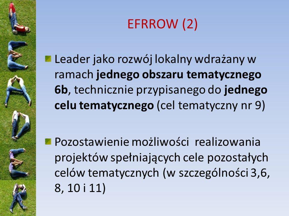 EFRROW (2) Leader jako rozwój lokalny wdrażany w ramach jednego obszaru tematycznego 6b, technicznie przypisanego do jednego celu tematycznego (cel tematyczny nr 9) Pozostawienie możliwości realizowania projektów spełniających cele pozostałych celów tematycznych (w szczególności 3,6, 8, 10 i 11)