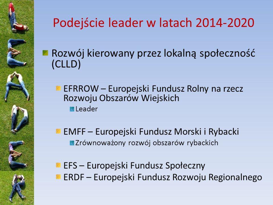 Podejście leader w latach 2014-2020 Rozwój kierowany przez lokalną społeczność (CLLD) EFRROW – Europejski Fundusz Rolny na rzecz Rozwoju Obszarów Wiejskich Leader EMFF – Europejski Fundusz Morski i Rybacki Zrównoważony rozwój obszarów rybackich EFS – Europejski Fundusz Społeczny ERDF – Europejski Fundusz Rozwoju Regionalnego