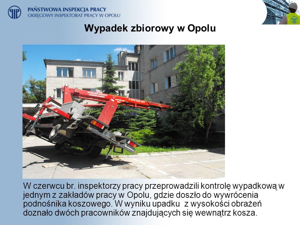 Wypadek zbiorowy w Opolu W czerwcu br. inspektorzy pracy przeprowadzili kontrolę wypadkową w jednym z zakładów pracy w Opolu, gdzie doszło do wywrócen