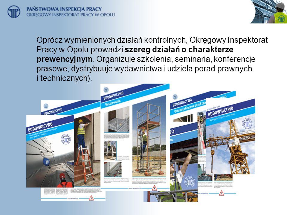 Oprócz wymienionych działań kontrolnych, Okręgowy Inspektorat Pracy w Opolu prowadzi szereg działań o charakterze prewencyjnym. Organizuje szkolenia,