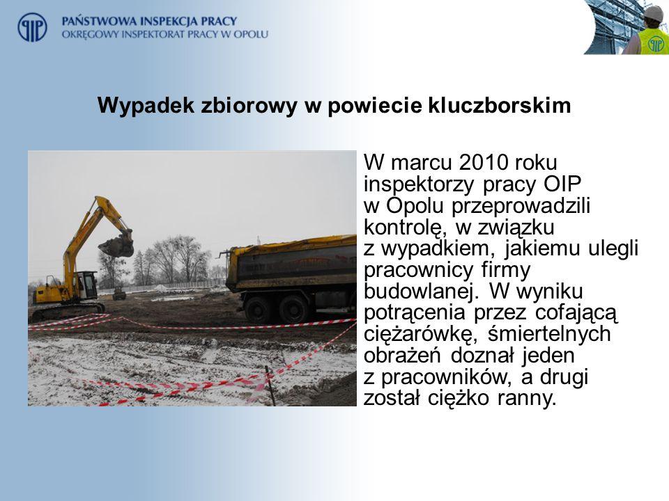 Wypadek zbiorowy w powiecie kluczborskim W marcu 2010 roku inspektorzy pracy OIP w Opolu przeprowadzili kontrolę, w związku z wypadkiem, jakiemu ulegl