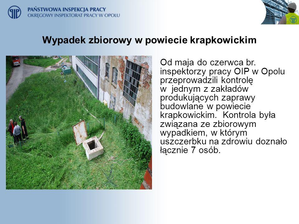 Wypadek zbiorowy w powiecie krapkowickim Od maja do czerwca br. inspektorzy pracy OIP w Opolu przeprowadzili kontrolę w jednym z zakładów produkującyc