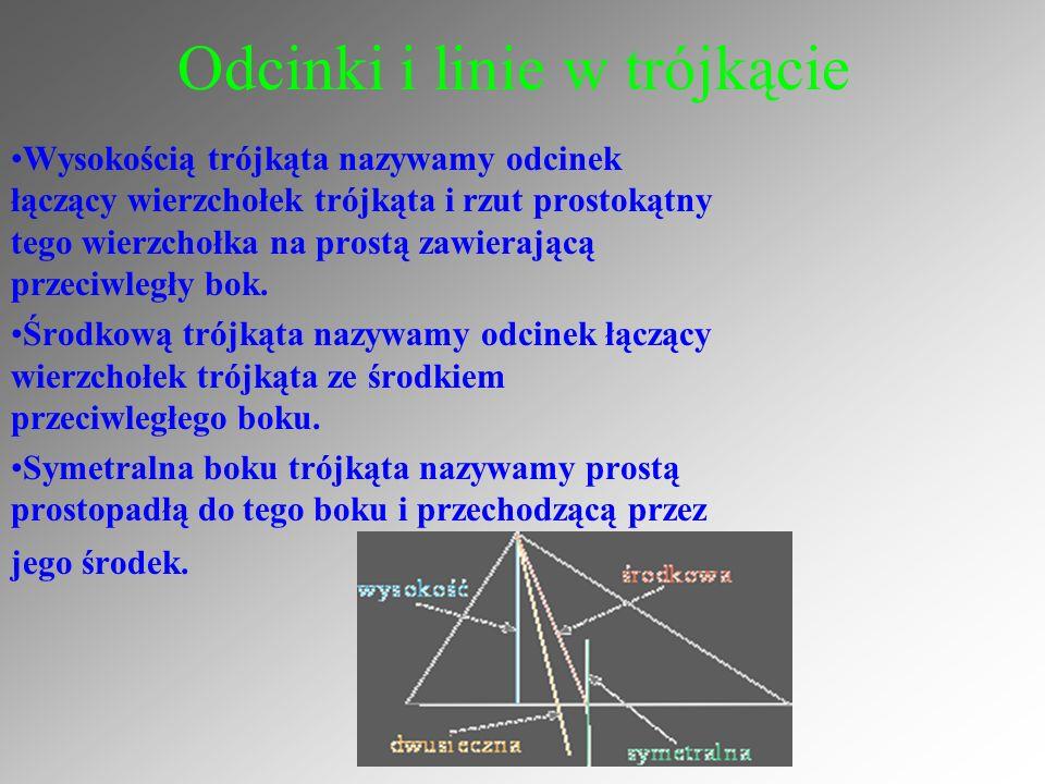 Trójkąt równoboczny Wtrójkącie równobocznym wysokości, środkowe, dwusieczne kątów przecinają się w jednym punkcie i zawarte są w osiach symetrii trójkąta.