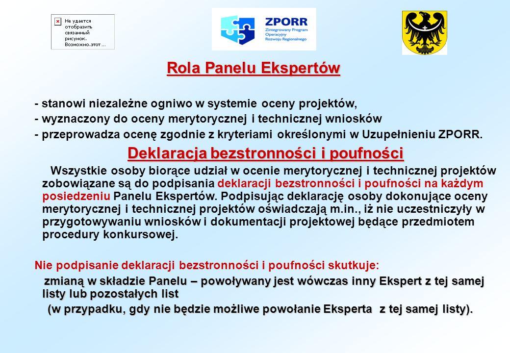 Rola Panelu Ekspertów - stanowi niezależne ogniwo w systemie oceny projektów, - wyznaczony do oceny merytorycznej i technicznej wniosków - przeprowadz
