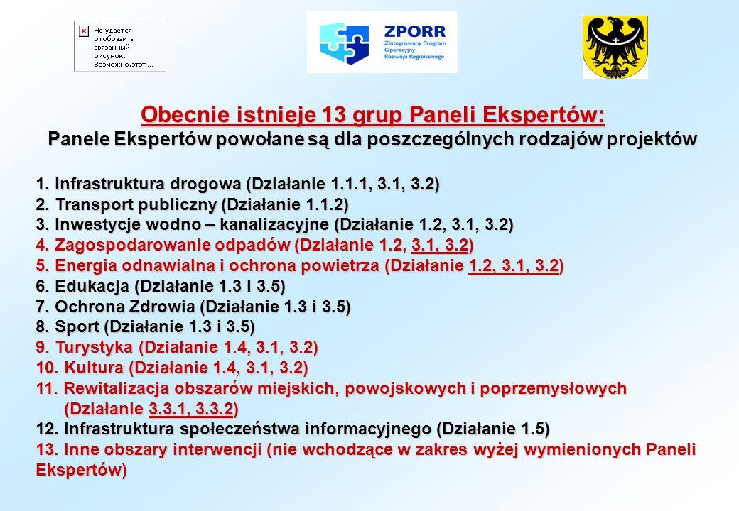Obecnie istnieje 13 grup Paneli Ekspertów: Panele Ekspertów powołane są dla poszczególnych rodzajów projektów 1. Infrastruktura drogowa (Działanie 1.1