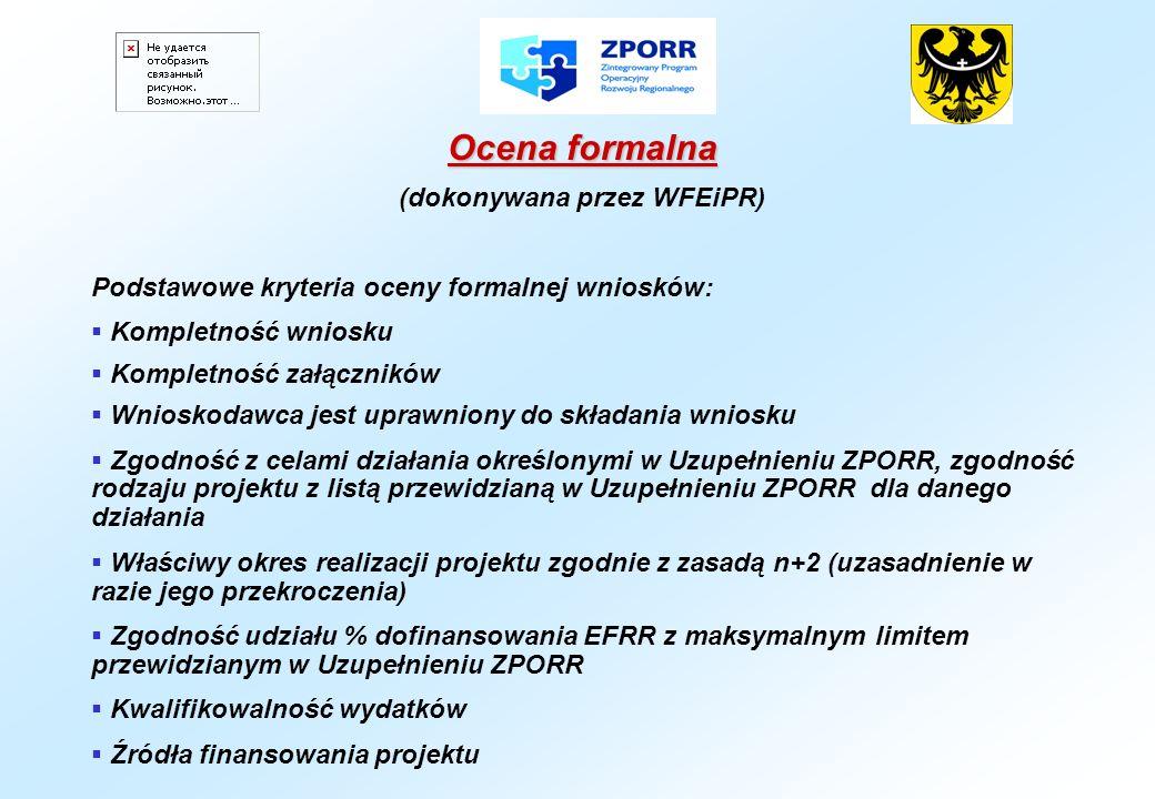Ocena formalna (dokonywana przez WFEiPR) Podstawowe kryteria oceny formalnej wniosków: Kompletność wniosku Kompletność załączników Wnioskodawca jest u