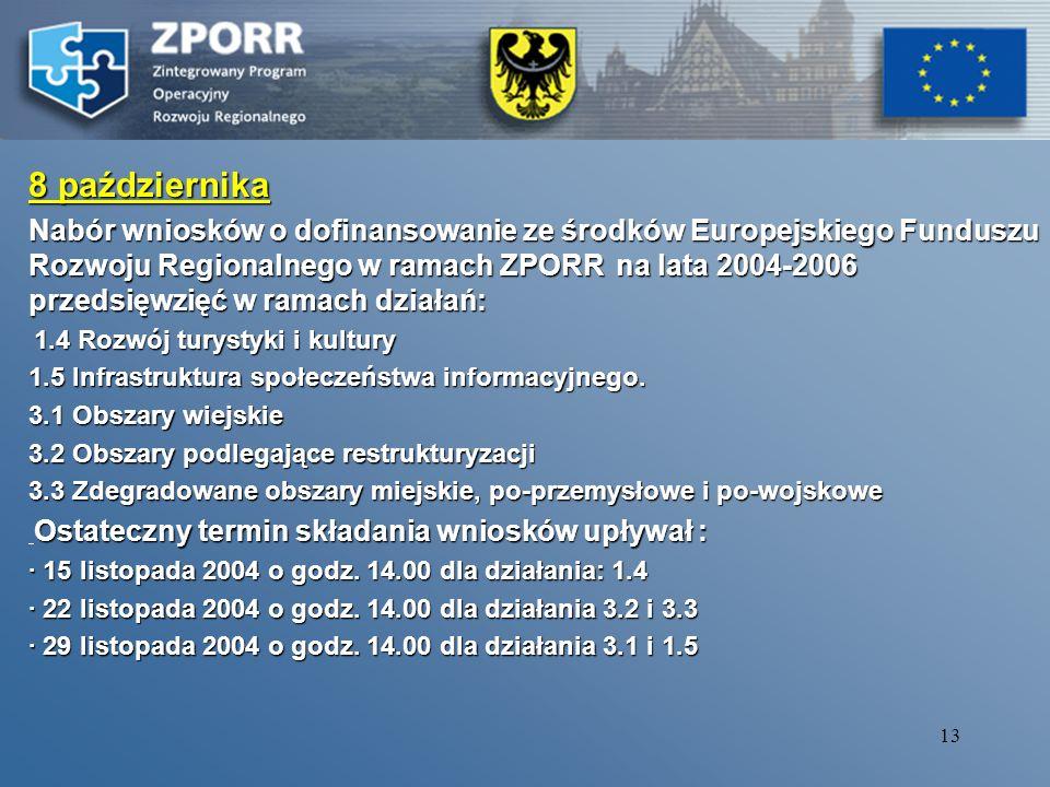 12 Październik 2004 Terminy podpisania umów finansowania działania pomiędzy Wojewoda i Marszałkiem/Dyrektorem DWUP (EFS) 2.1 - 4 październik 2004 2.2 - 11 październik 2004 2.3 - 4 październik 2004 2.4 - 4 październik 2004 2.5 - 8 październik 2004 2.6 - 8 październik 2004 3.4 - 8 październik 2004 Zatwierdzenie Ramowych Planów Realizacji Działań 2004 r.