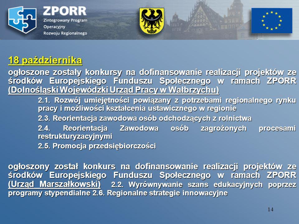 13 8 października Nabór wniosków o dofinansowanie ze środków Europejskiego Funduszu Rozwoju Regionalnego w ramach ZPORR na lata 2004-2006 przedsięwzięć w ramach działań: 1.4 Rozwój turystyki i kultury 1.5 Infrastruktura społeczeństwa informacyjnego.