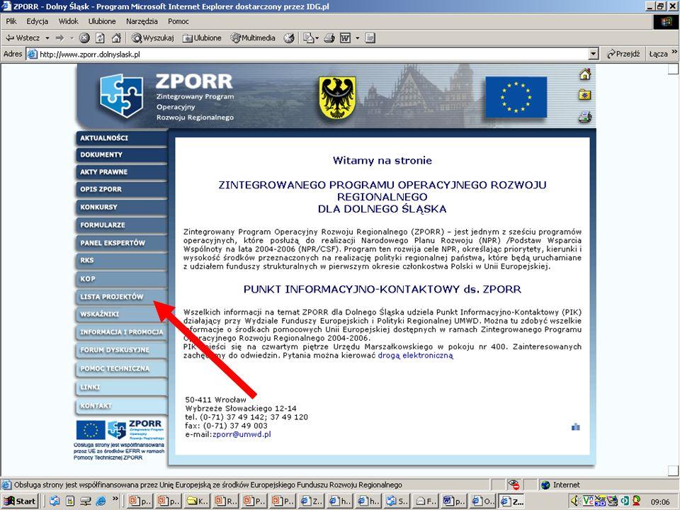 35 Najwięcej wniosków w ramach ZPORR w dwóch naborach (infrastruktura, ERDF), które odbyły się w 2004 r., wpłynęło z: 1.Zgorzelec – 17 wniosków (łączn