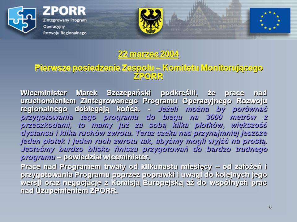 8 Naboru i wyboru wniosków w ramach priorytetu 1 i 3 ZPORR (infrastruktura) ścieżka procesu informacja o odrzuceniu wniosku powiadamianie beneficjenta