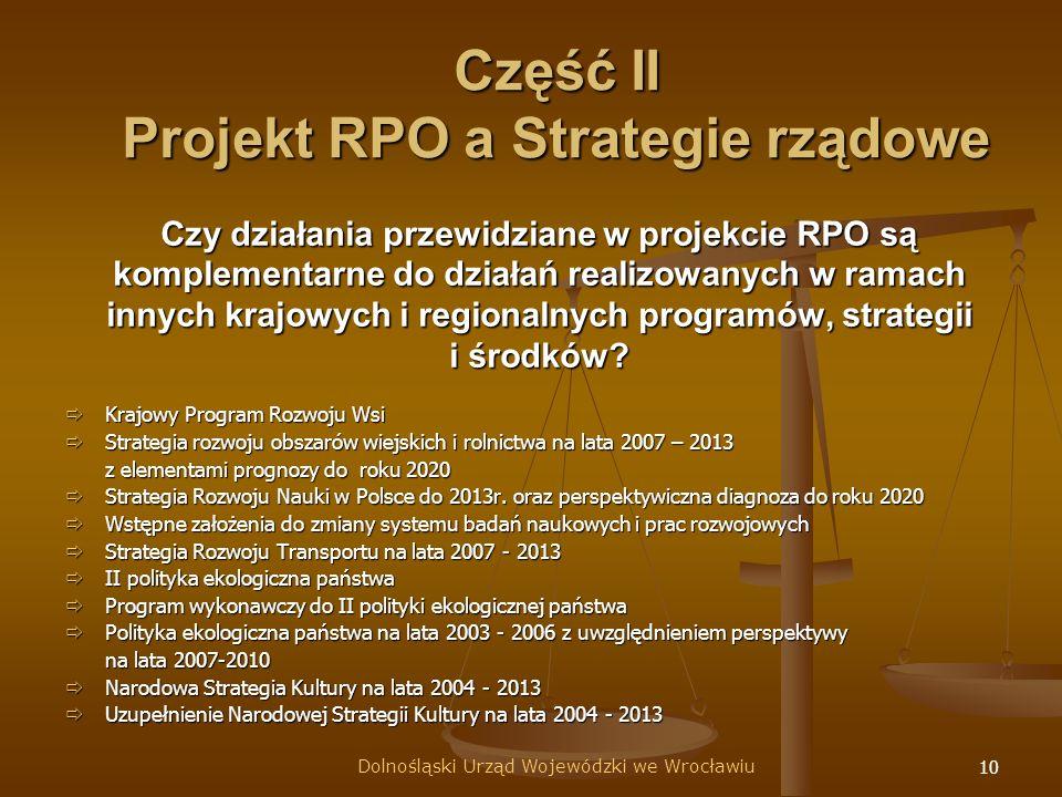 10 Czy działania przewidziane w projekcie RPO są komplementarne do działań realizowanych w ramach innych krajowych i regionalnych programów, strategii i środków.