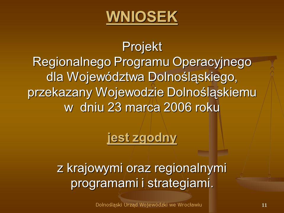 11 WNIOSEK Projekt Regionalnego Programu Operacyjnego dla Województwa Dolnośląskiego, przekazany Wojewodzie Dolnośląskiemu w dniu 23 marca 2006 roku jest zgodny z krajowymi oraz regionalnymi programami i strategiami.