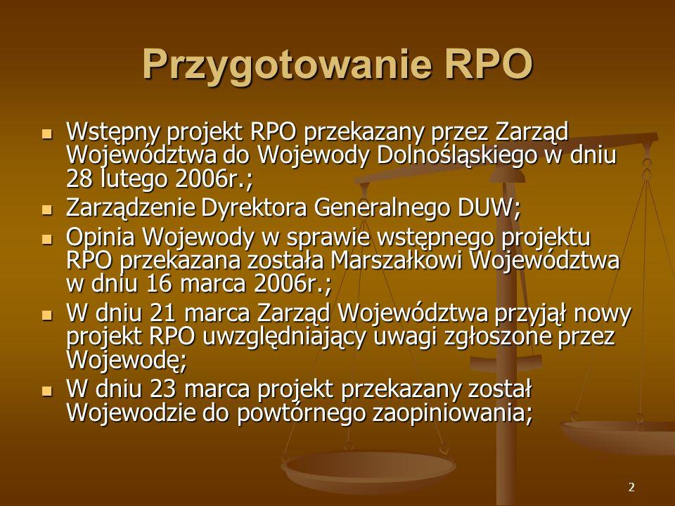 2 Przygotowanie RPO Wstępny projekt RPO przekazany przez Zarząd Województwa do Wojewody Dolnośląskiego w dniu 28 lutego 2006r.; Wstępny projekt RPO przekazany przez Zarząd Województwa do Wojewody Dolnośląskiego w dniu 28 lutego 2006r.; Zarządzenie Dyrektora Generalnego DUW; Zarządzenie Dyrektora Generalnego DUW; Opinia Wojewody w sprawie wstępnego projektu RPO przekazana została Marszałkowi Województwa w dniu 16 marca 2006r.; Opinia Wojewody w sprawie wstępnego projektu RPO przekazana została Marszałkowi Województwa w dniu 16 marca 2006r.; W dniu 21 marca Zarząd Województwa przyjął nowy projekt RPO uwzględniający uwagi zgłoszone przez Wojewodę; W dniu 21 marca Zarząd Województwa przyjął nowy projekt RPO uwzględniający uwagi zgłoszone przez Wojewodę; W dniu 23 marca projekt przekazany został Wojewodzie do powtórnego zaopiniowania; W dniu 23 marca projekt przekazany został Wojewodzie do powtórnego zaopiniowania;