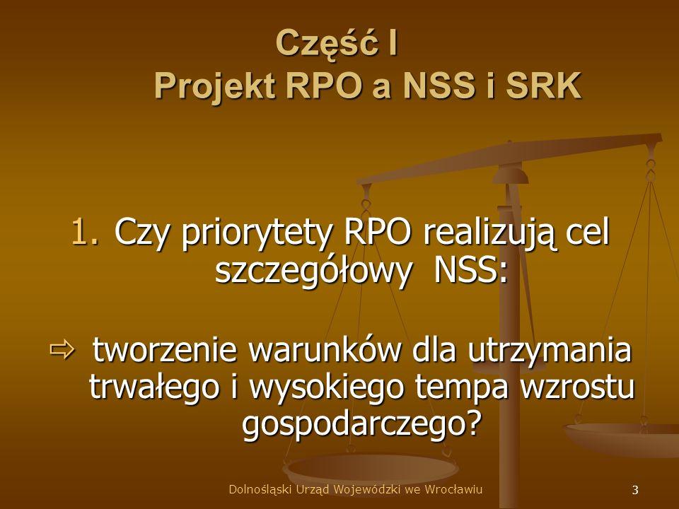 3 Część I Projekt RPO a NSS i SRK 1.Czy priorytety RPO realizują cel szczegółowy NSS: 1.Czy priorytety RPO realizują cel szczegółowy NSS: tworzenie warunków dla utrzymania trwałego i wysokiego tempa wzrostu gospodarczego.