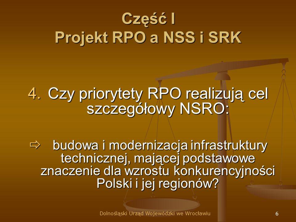 6 Część I Projekt RPO a NSS i SRK 4.Czy priorytety RPO realizują cel szczegółowy NSRO: budowa i modernizacja infrastruktury technicznej, mającej podstawowe znaczenie dla wzrostu konkurencyjności Polski i jej regionów.