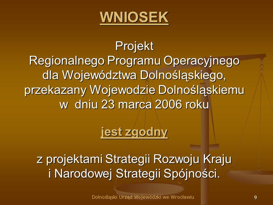 9 WNIOSEK Projekt Regionalnego Programu Operacyjnego dla Województwa Dolnośląskiego, przekazany Wojewodzie Dolnośląskiemu w dniu 23 marca 2006 roku jest zgodny z projektami Strategii Rozwoju Kraju i Narodowej Strategii Spójności.