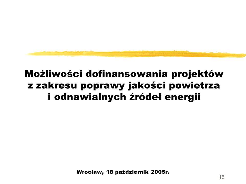 15 Możliwości dofinansowania projektów z zakresu poprawy jakości powietrza i odnawialnych źródeł energii Wrocław, 18 październik 2005r.