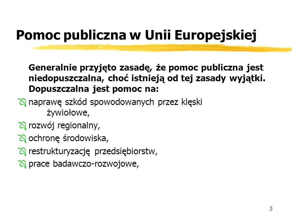 3 Pomoc publiczna w Unii Europejskiej Generalnie przyjęto zasadę, że pomoc publiczna jest niedopuszczalna, choć istnieją od tej zasady wyjątki.