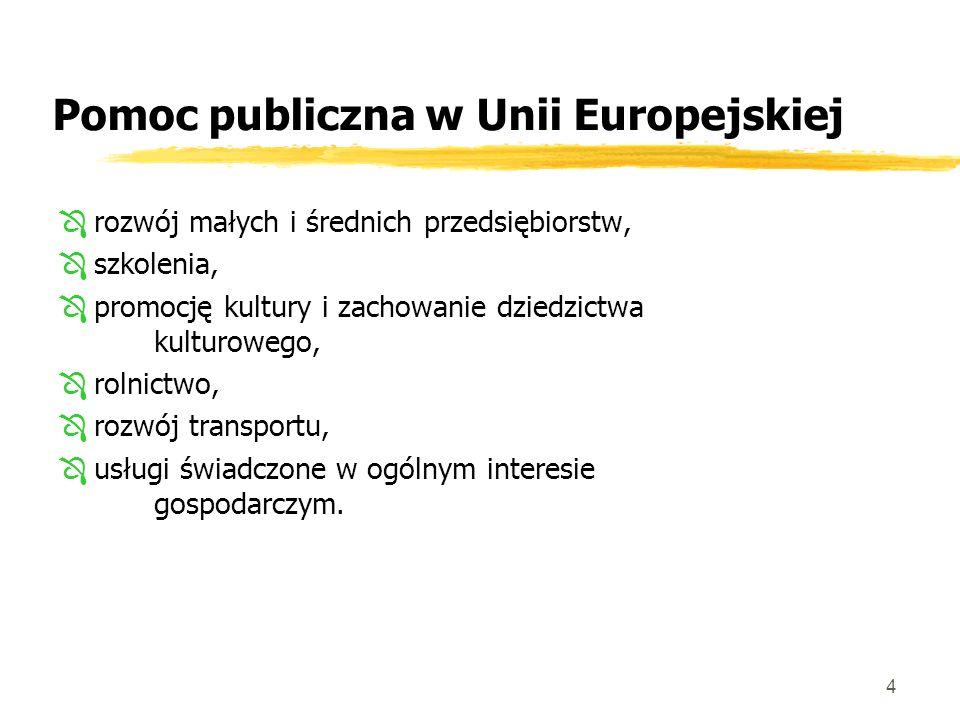 4 Pomoc publiczna w Unii Europejskiej Ôrozwój małych i średnich przedsiębiorstw, Ôszkolenia, Ôpromocję kultury i zachowanie dziedzictwa kulturowego, Ôrolnictwo, Ôrozwój transportu, Ôusługi świadczone w ogólnym interesie gospodarczym.