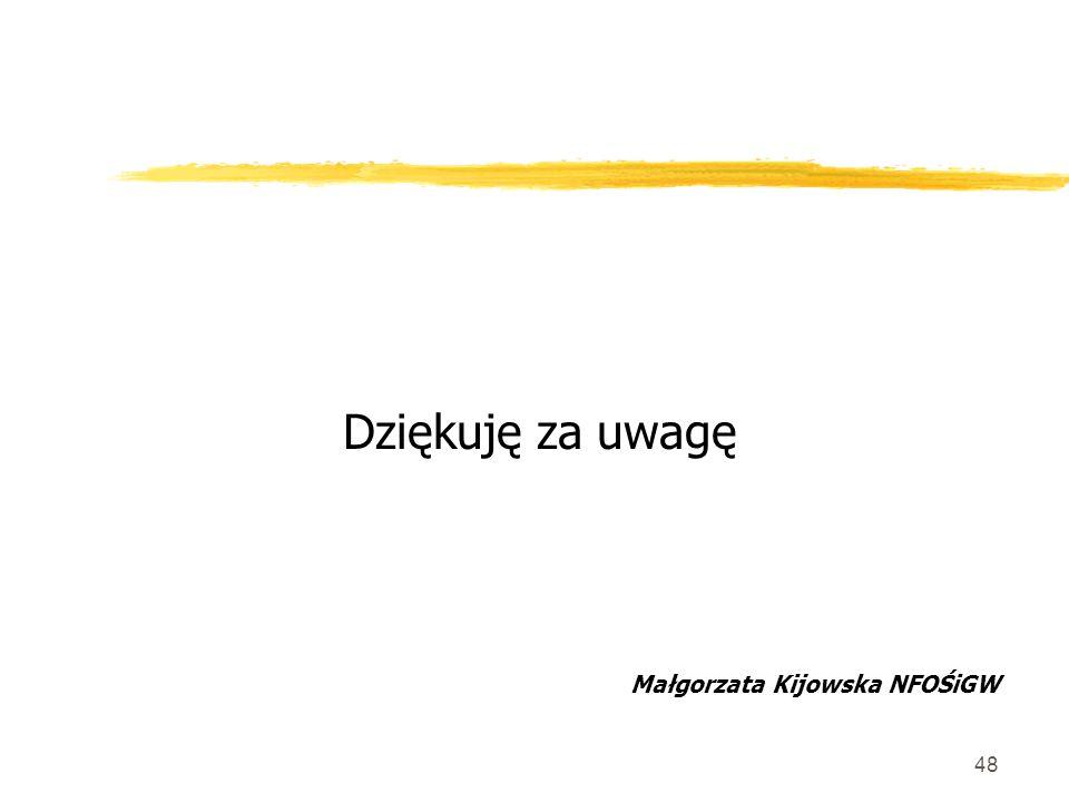 48 Dziękuję za uwagę Małgorzata Kijowska NFOŚiGW