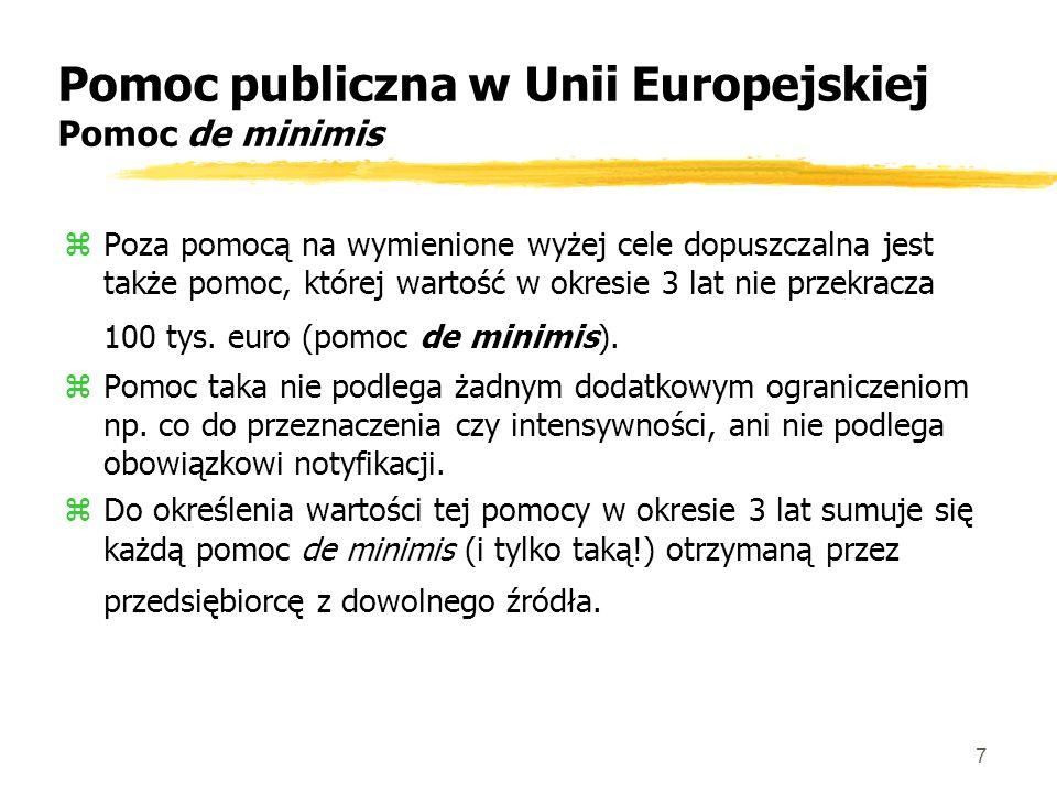 7 Pomoc publiczna w Unii Europejskiej Pomoc de minimis zPoza pomocą na wymienione wyżej cele dopuszczalna jest także pomoc, której wartość w okresie 3 lat nie przekracza 100 tys.