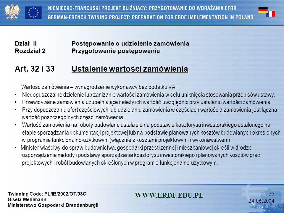 Twinning Code: PL/IB/2002/OT/03C Gisela Mehlmann Ministerstwo Gospodarki Brandenburgii WWW.ERDF.EDU.PL 21 24.06.2004 Dział IIPostępowanie o udzielenie