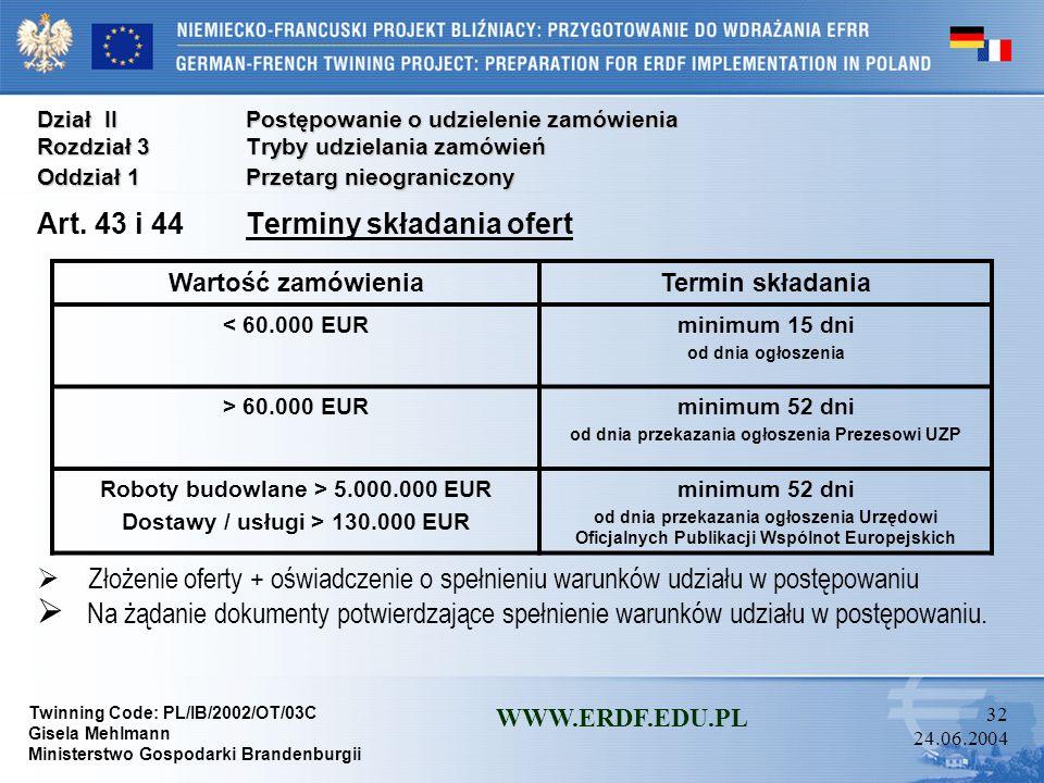 Twinning Code: PL/IB/2002/OT/03C Gisela Mehlmann Ministerstwo Gospodarki Brandenburgii WWW.ERDF.EDU.PL 31 24.06.2004 Dział IIPostępowanie o udzielenie