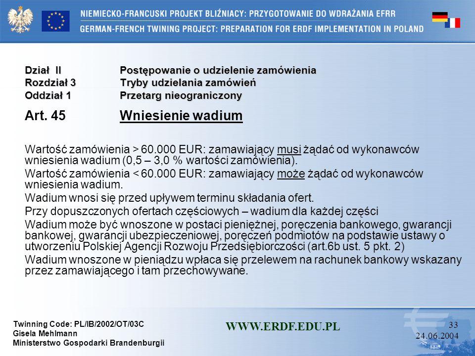 Twinning Code: PL/IB/2002/OT/03C Gisela Mehlmann Ministerstwo Gospodarki Brandenburgii WWW.ERDF.EDU.PL 32 24.06.2004 Dział IIPostępowanie o udzielenie