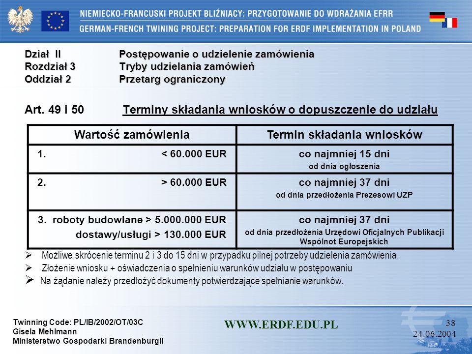 Twinning Code: PL/IB/2002/OT/03C Gisela Mehlmann Ministerstwo Gospodarki Brandenburgii WWW.ERDF.EDU.PL 37 24.06.2004 Dział IIPostępowanie o udzielenie